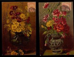 FLOWERS DECORATED VASE 2 DIFF. KOPAL 350 POSTCARD C1900 Original GERMANY LITHO - Illustrators & Photographers