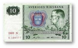 SWEDEN - 10 KRONOR - 1985 - P 52.d - Serie N - 2 Scans - Suecia