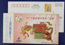 Dragon & Phoenix,CN 00 Sichuan Postal Savings Remittance Bureau Lunar New Year Of Dragon Greeting Pre-stamped Card - Año Nuevo Chino