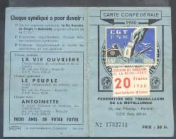 CARTE  CONFEDERALE  C.G.T.  1960  .  FEDERATION  DES TRAVAILLEURS DE LA METALLURGIE  .  (  2  SCANS  )  . - Cartes