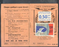 CARTE  CONFEDERALE  C.G.T.  1961  .  FEDERATION  DES TRAVAILLEURS DE LA METALLURGIE  .  (  2  SCANS  )  . - Cartes
