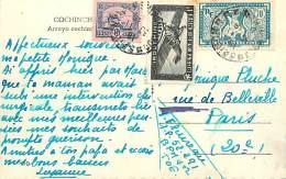 PIE-16 - 130.   TIMBRES D INDOCHINE SUR CARTE POSTALE ARROYO