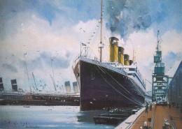 "C P M Bateau Navire Paquebot "" Titanic  "" à Quai Paquebot  White Star Britannique Naugrage - Paquebots"