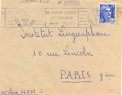 CHOLET MAINE-ET-LOIRE (grandes Lettres) OM RBV BD 4L 10 NOV 52 MI-CARÊME RÉPUTÉE / 3EME DIMANCHE / AVANT PÂQUES - Postmark Collection (Covers)