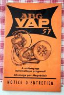Notice D'entretien Moteur ABG VAP 57 Embrayage Automatique Progressif Courbevoie - Motos