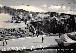 """04755 """"(RI) TERMINILLO - PIAZZALE DI PIAN DE' VALLI - PISTA DI PATTINAGGIO'"""" ANIMATA, AUTO, BUS.  CART SPED 1960 - Rieti"""