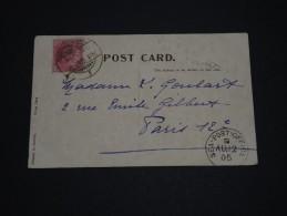 GRANDE BRETAGNE / INDE - Oblitération De Calcutta Sur Carte Postale Pour La France En 1905 - A Voir - L 1383 - India (...-1947)