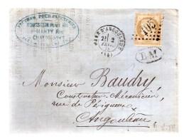 Losange Grands Chiffres 105 .cérès 15c Bistre Dentelé.cachet Ovale BM (boite Mobile)Cachet Gare D'Angoulême.février 75. - Marcophilie (Lettres)