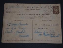 FRANCE - Entier Postal Type Pétain  - Demande Extrait De Naissance De St Christol En 1943 - A Voir - L 1410
