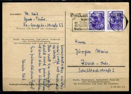 """DDR 1954 Bedarfspostkarte Mit Mi.Nr.407 U.Propaganda MWST""""Gera 4-Jeder Patriotische Deutsche,wählt Am 17.Okt....""""1 Beleg - Briefe U. Dokumente"""