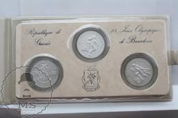 Republic Of Guinea/ République De Guinée 25 Olympic Games Of Barcelona 1992, 100, 200 & 300 Francs In Silver Coins - Guinea