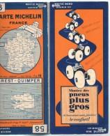 Carte Géographique MICHELIN - N° 058 - BREST-QUIMPER - N° 3022-43 (sur Toile) - Cartes Routières