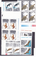 #148     ANIMALS, FAUNA, BIRDS, TURTLE, DOLPHIN, FOX,  STAMPS IN BLOCK OF 4  ,MNH**, 1996 ,  Mi.5208/13  ROMANIA. - 1948-.... Republiken