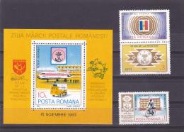 #149      DAY OF ROMANIAN STAMPS,    3X STAMPS + BLOCK #195 ,  ,MNH**, 1983  Mi. 3978/81  ROMANIA. - 1948-.... Républiques
