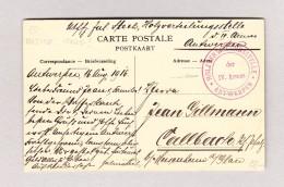 """Belgien Militär Holzverteilungstelle Antwerpen Der IV Armee Stempel Rot Auf AK""""Scènes De Port Chevaux De Corporations"""" - Poststempel"""