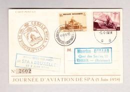"Belgien Luftpost Spa 5.6.1938 Postkarte ""Inauguration Aérogare De Spa"" Flug Spa Nach Bruxelles - Poststempel"