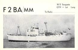 """Carte Q S L Bateau Identifié Port De Dieppe """" Sougueta """" Compagnie De Navigation Fruitière Construit 1958 Grand Quevilly - Dampfer"""