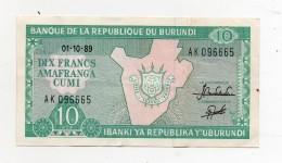 Burundi - 1989 - Banconota Da 10 FRANCHI - Usata -  (FDC279) - Burundi