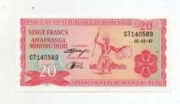 Burundi - 1997 - Banconota Da 20 FRANCHI - Nuova -  (FDC280) - Burundi