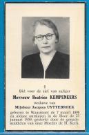 Bidprentje Van Beatrice Kempeneers - Waasmont - 1898 - 1959 - Images Religieuses