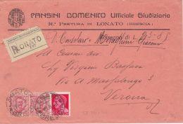 1930 FLOREALE Coppia C.75 + IMPER. C.20 (201+247) Su Manoscritti Racc. C/assegno Lonato (19.8.30) - 1900-44 Vittorio Emanuele III