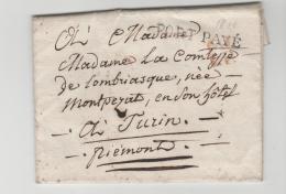 FP164 /  FRANKREICH - Paris Port Paye 1818 Nach Turin - Poststempel (Briefe)