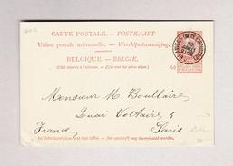 Belgien Anvers 30.7.1900 Postkarte 10c Leopold II Nach Paris Mit Auf Rückseite Privatzudruck Werbung Café - Ganzsachen