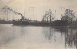 """Carte Photo Bateau Identifié """" Harfleur """"  Cie Les Armateurs Français Construit En 1920 Port De Bouc Puis Pétrolier - Paquebots"""