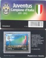 ITALIA TESSERA FILATELICA 2012 - JUVENTUS SCUDETTO CAMPIONATO DI CALCIO SERIE A 2011 - 2012 - Club Mitici