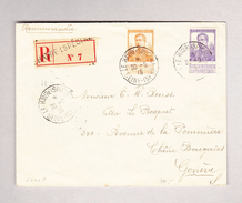 Belgien  1912 Mi#97 Und 98 LE HAVRE (SPECIAL) R-Brief Nach Genève Chêne-Bourg - 1915-1920 Albert I