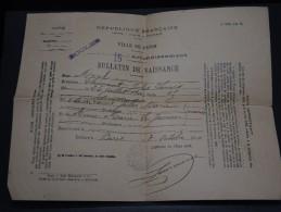 VIEUX PAPIERS - Bulletin De Naissance En 1910 - A Voir - L 1446 - Vieux Papiers