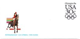 USA OLYMPICS 84 AEROGRAMME VIA AIRMAIL PAR AVION (AGO1600 - Ippica