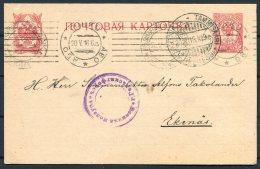 1916 Finland Abo Helsingfors Tammisaari Censor Stationery Postcard - Ekenas - Finland