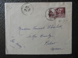 1951 - Lettre Destination Rabat MAROC Affranchie N° 898 Seul Service Santé Militaire Cad Paris Avenue De Saxe ? - Marcophilie (Lettres)