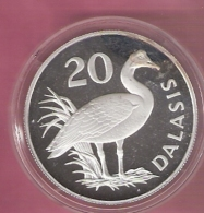 GAMBIA 20 DALASIS 1977 WWF AG PROOF ONLY 4302 PCS SPUR WINGED GOOSE TINY SCRATCHES/HAIRLINES - Gambie