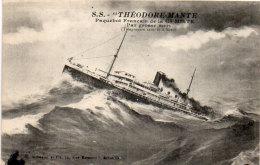"""S.S. """"THEODORE MANTE"""" Paquebot Français De La Cie Mixte - Par Grosse Mer - Télégraphie Sans Fil A Bord(89295) - Piroscafi"""
