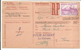 BELGIQUE CARTE RECEPISSE DE CHARLEROI 1951 - Marcophilie