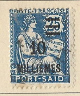 Territori Francesi - Port Said - 1925 - Usato/used - Allegorie - Mi N. 76 - Used Stamps