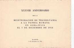 #T95   UNION OF TRANSILVANIA WITH ROMANIA, ALBA IULIA, 1918,    BOOKLETS,  OVERPRINT,  1954, SPAIN EXIL, ROMANIA. - Carnets