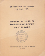 #T97    CONFERENCE , GENEVA, FREEDOM AND JUSTICE ,    BOOKLETS,   1959 , SPAIN EXIL, ROMANIA. - Carnets