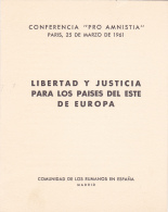 """#T101      """"PRO AMNISTIA"""" CONFERENCE, PARIS, FREEDOM AND JUSTICE ,   OVERPRINT , BOOKLETS,  1961  , SPAIN EXIL, ROMANIA. - Carnets"""