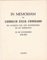 #T104   IN MEMORIAM OF CORNELIU Z. CODREANU , BOOKLETS,1963 , SPAIN EXIL, ROMANIA. - Carnets