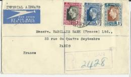 SOUTH AFRICA - 1937 - ENVELOPPE RECOMMANDEE AIRMAIL De DURBAN Pour PARIS - Covers & Documents