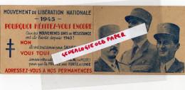 GUERRE 39-45- WW2- MILITARIA- 87-LIMOGES-1944-DUSSON GEORGES-CONVOCATION MOUVEMENT LIBERATION -RESISTANCE-MLN-MUR- - Calendriers