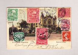 Ansichtskarte Von Buenos Aires  1.11.1909 Nach USA, Deutschland, Frankreich, AT Böhmen, Egypten, Honduras Und Uruguay - Buenos Aires (1858-1864)