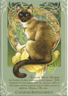 CPM Illustrée, Chat Siamois 'charah Bernhard' - Dessin Severine Pineaux (inspiré De Mucha, Sarah Bernhardt) - Illustrators & Photographers