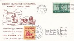 Sc#1124 Oregon Statehood Centennial Issue, Cover Wagon, 25c Oregon Label, 1959 Illustrated Cover - Enveloppes évenementielles