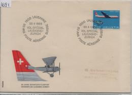 1969 50 JAHRE ANS POSTE AERIENNE SUISSE  HELVETIA SUISSE Sonderflug LAUSANNE - ZURICH 69.4 Vol Special