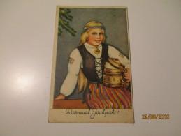 ESTONIA  ETHNIC GIRL IN FOLK DRESS WITH BEER TANKARD , ADYLIDY , 0 - Non Classés