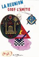 CPM ILE De LA REUNION G.O.D.F. Loge L' Amitié Franc-Maçonnerie Masonic Tirage Limité Illustrateur  LENZI Et JIHEL - Lenzi